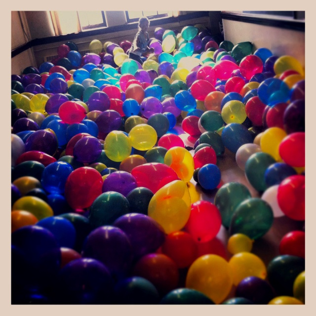 Classroom full of balloons! At the We Should Know Each Other #100 celebration at King Edward School. #YYC