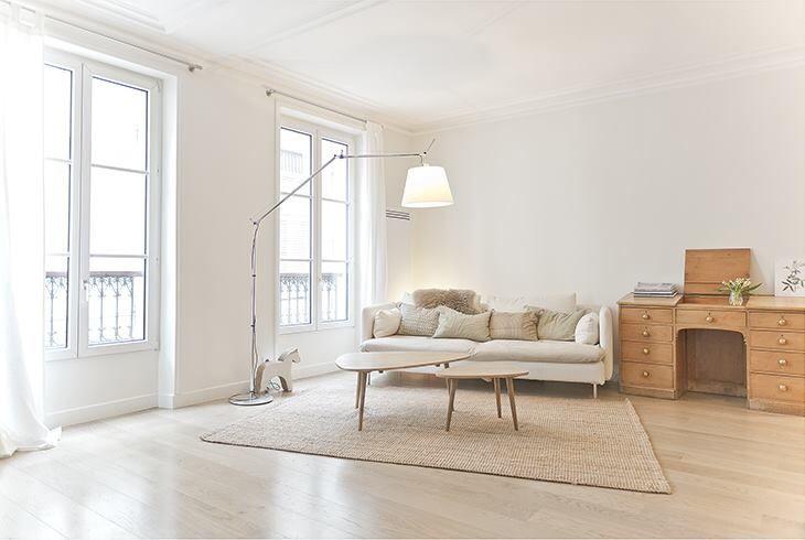 Rencontre un architecte - décoration épurée salon Couleurs pastels