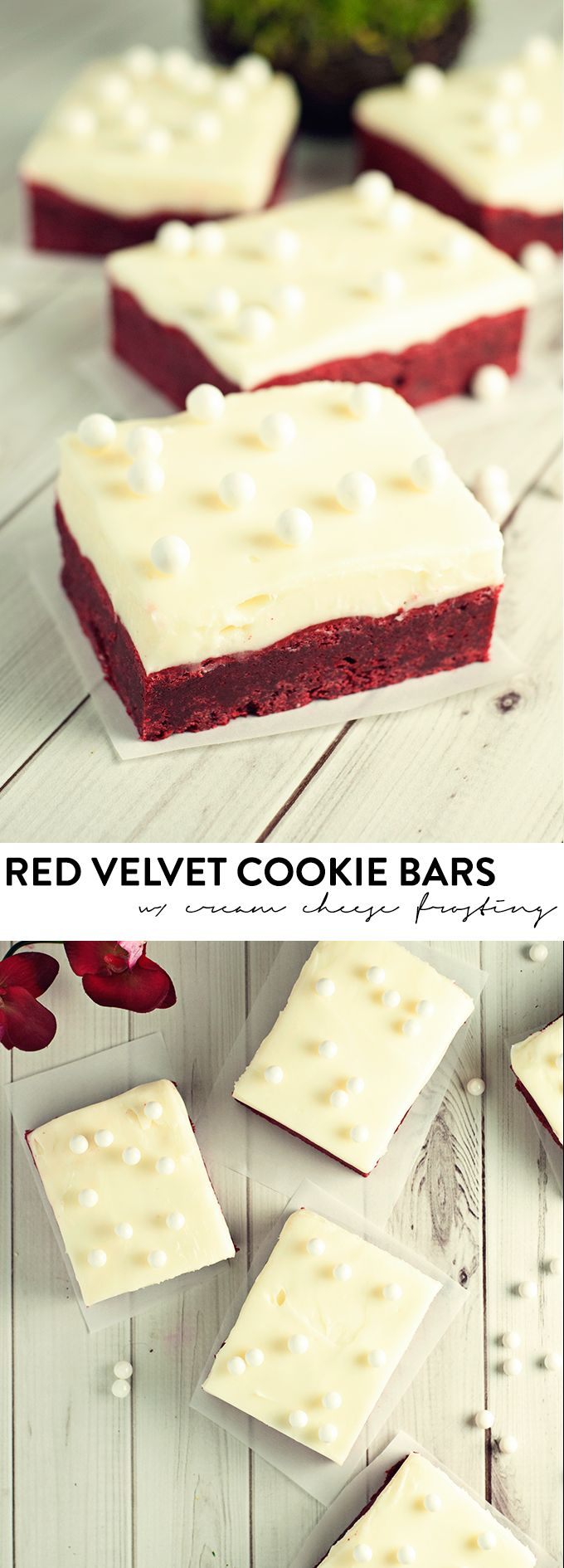 Decadent, moist, and chewy, these red velvet cookie bars with cream cheese frosting will blow your mind! asimplepantry.com