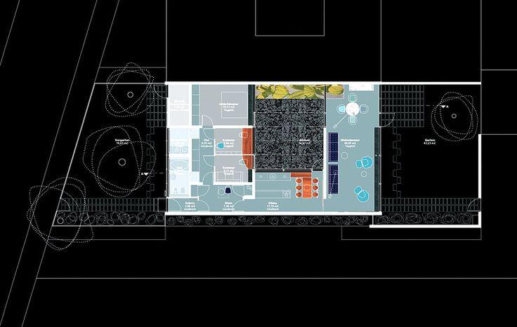 Grundrissplan mit Haus und Freiflächen, zur Wiederherstellung 2004, Abbildung: Kirsten Schemel Architekten BDA, basierend auf Originalentwurf Jacobsen