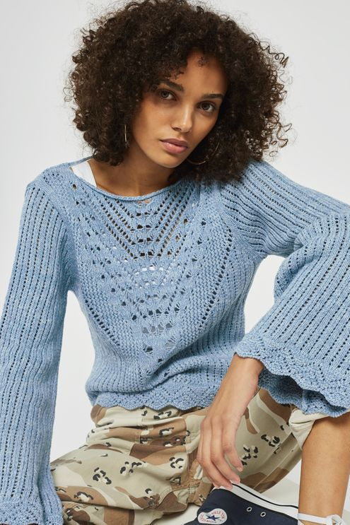 Stitchy Tie Back Flute Sleeve Top