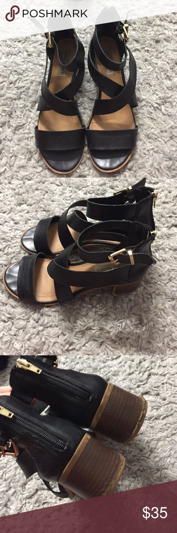 Strappy Steve Madden Platform Sandals Great shoes! Have hardly been worn, but have slight scuffing on the heel block. Genuine leather+Manmade materials, but good quality and no cracking. Comfortable and easy to wear for long periods of time :-) Steve Madden Shoes Sandals