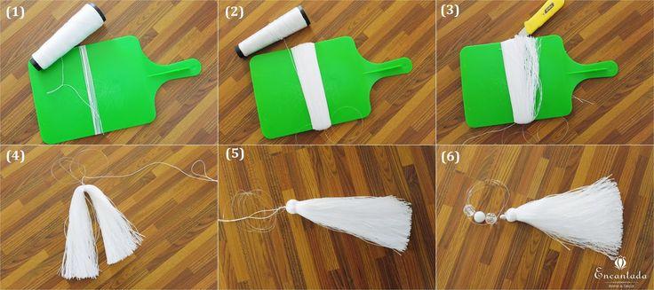DIY: Pingente de cortina com tassel e pedrinhas