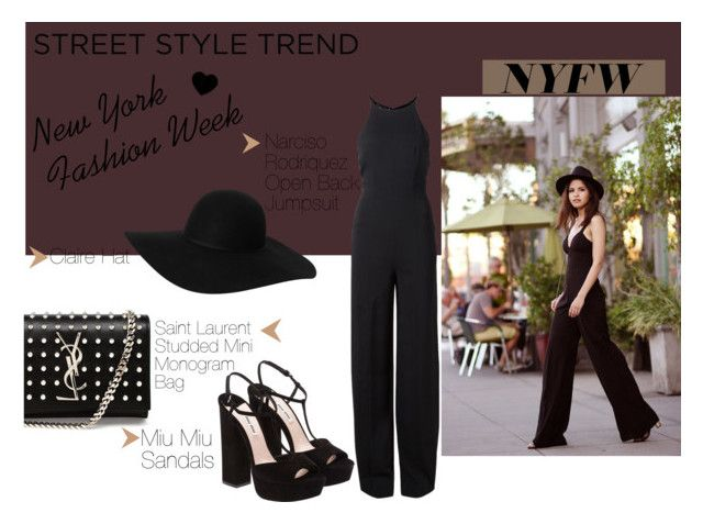 """""""NYFW:The Jumpsuit"""" by eirini-kastrou on Polyvore featuring Narciso Rodriguez, Monki, Yves Saint Laurent and Miu Miu"""
