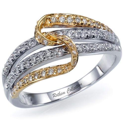 The Original #RothemCollection #TwoTone #Diamond Wedding / #AnniversaryBand, Ideal for #RightHand, #Wedding, #Anniversary or #Birthday, featuring micro pave setting of 67 Rothem certified naturally mined G SI2 round #diamonds totaling 0.40 carat with our unique two tone #tietheknot design.
