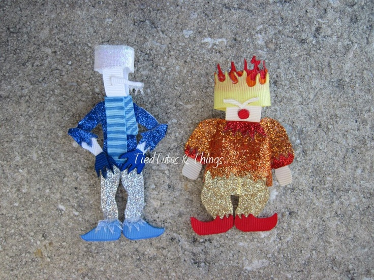 Snow and Heat Miser hair clips pins. Tied Tutus & Things on Etsy and facebook.com/tiedtutus