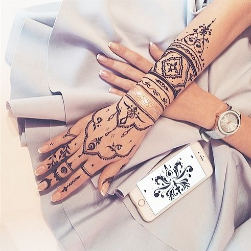 henna inspired hand tattoos - Google Search