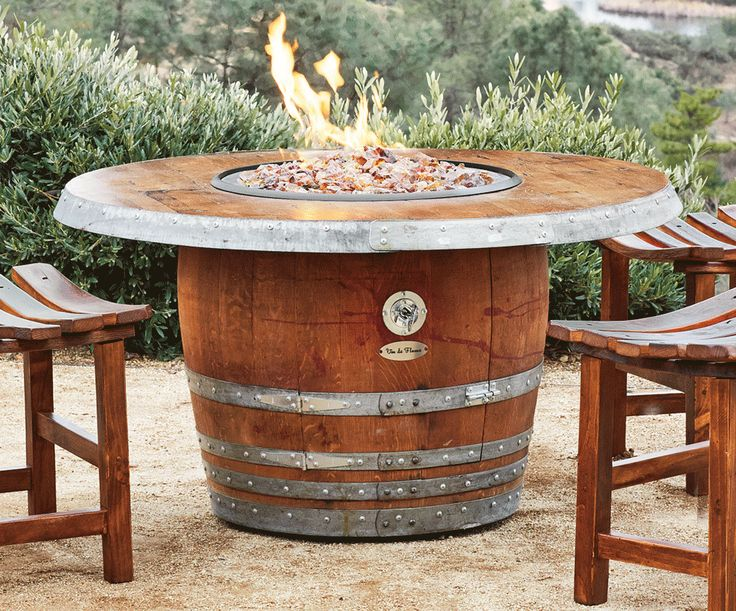 Vin De Flame The Reserve Wine Barrel Fire Pit Table With Granite Table Top