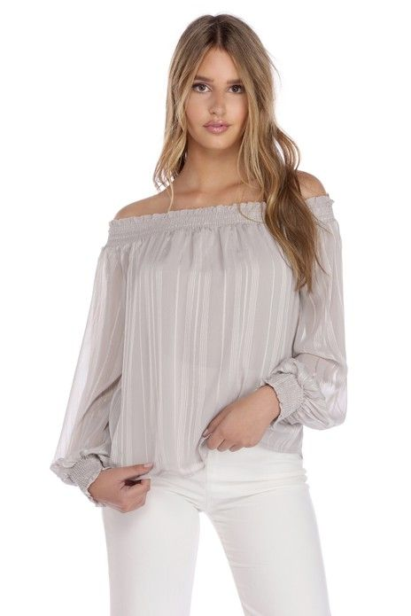 Silver Smock Off Lurex Top