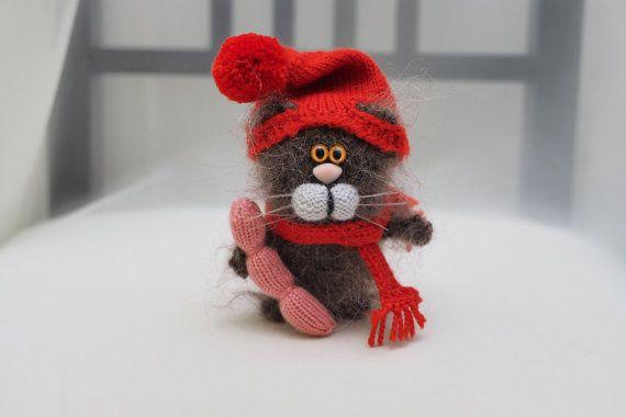 Cat  knitted. Amigurumi handmade cat. Toy от handmadetoysrus