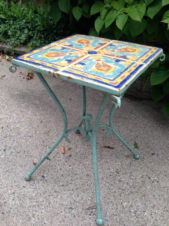 Mod Love Sale Vintage D M California Tile Wrought Iron Table C