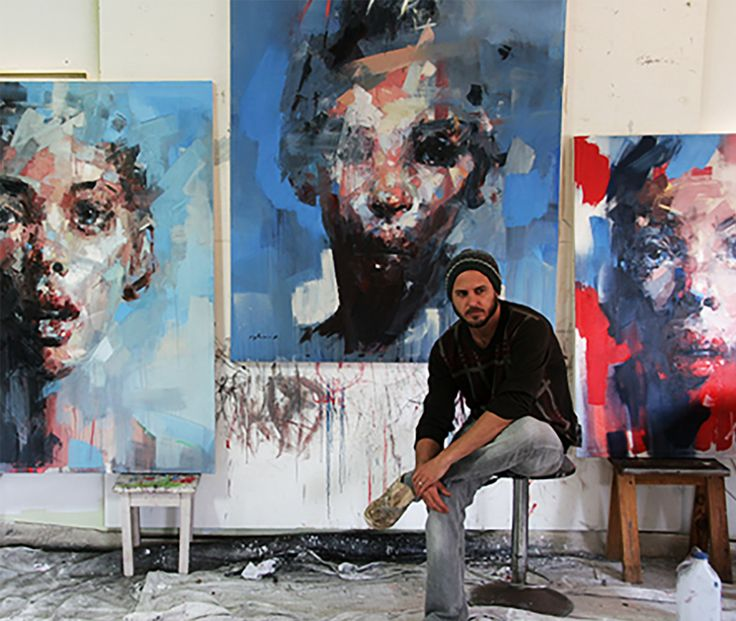 South African artist Ryan Hewett oil painting renowned for his brooding evocative portraits. Hewett subject is the human face looks, creates a non-specific portrayal that is free of judgement.