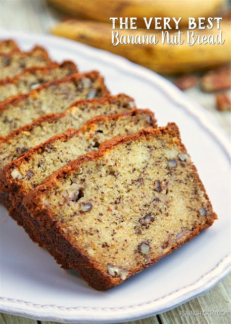 The Very Best Banana Nut Bread - CRAZY good! butter, sugar, eggs, flour, baking soda, buttermilk, ripe bananas and pecans - SO easy to…