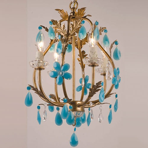 Stella gold and turquoise chandelier from PoshTots.