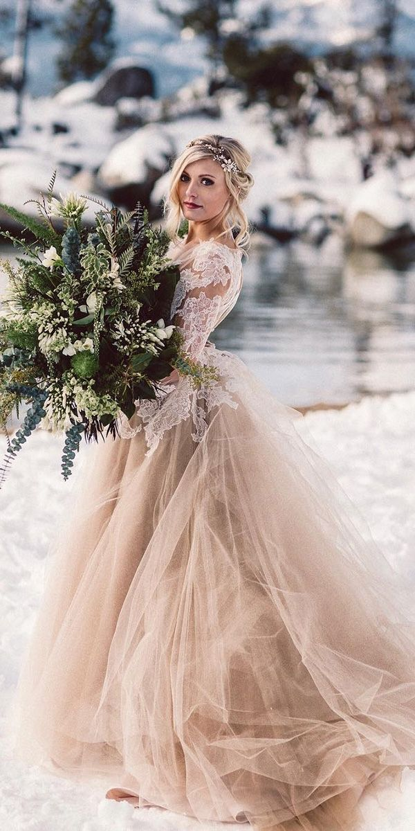 21 Impeccable Winter Wedding Dresses Myriam Darlay Pin Winter Wedding Dress Wedding Dress Guide Colored Wedding Dresses