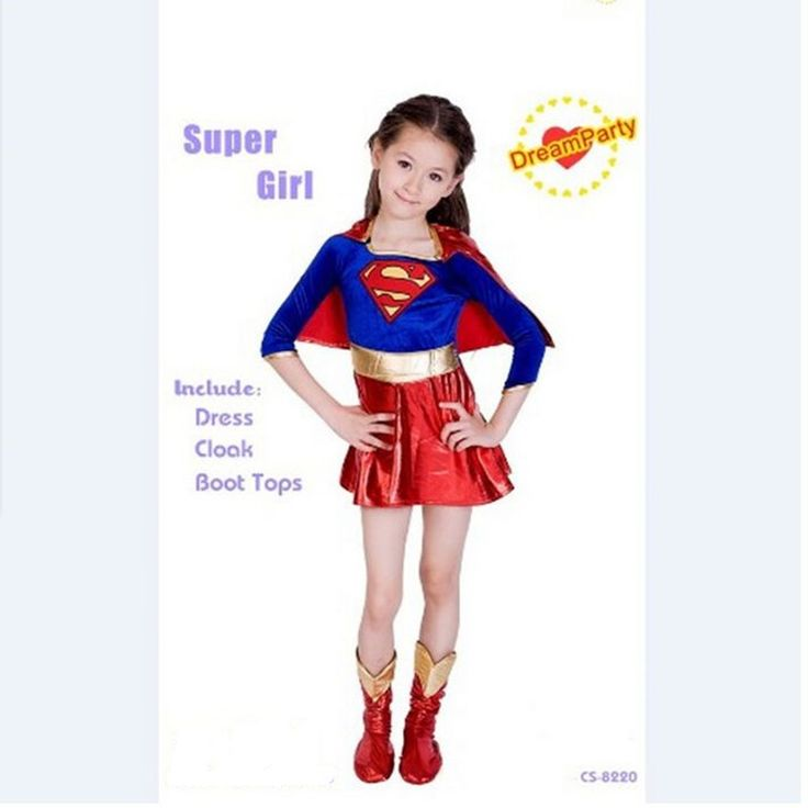 2017 new child supergirl Sexy girl super hero costume cosplay party for super girl costume kids superman dress