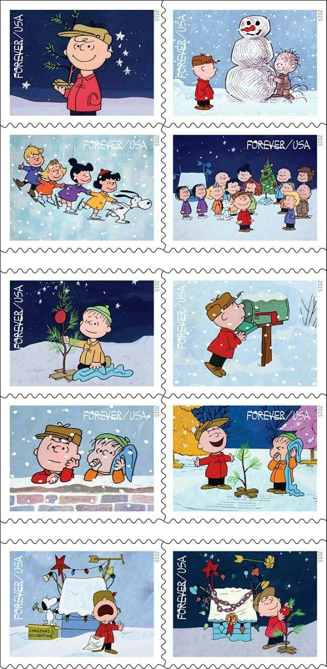Snoopy and Peanuts Christmas 2015 Stamps