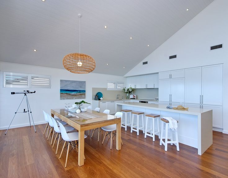 Tongue and groove cathedral ceiling in white with downlights- really an open plan home. #ceiling #downlights