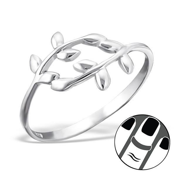925 Sterling Silver Midi Ring Olive Branch Leaves US Size 3.5 Leaf Jewellery