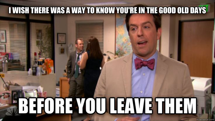 """I wish there was a way to know you're in the good old days before you leave them."" ~ Andy Bernard, The Office"