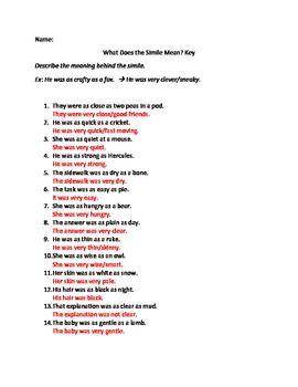 Similes And Metaphors Worksheets Lit Similes