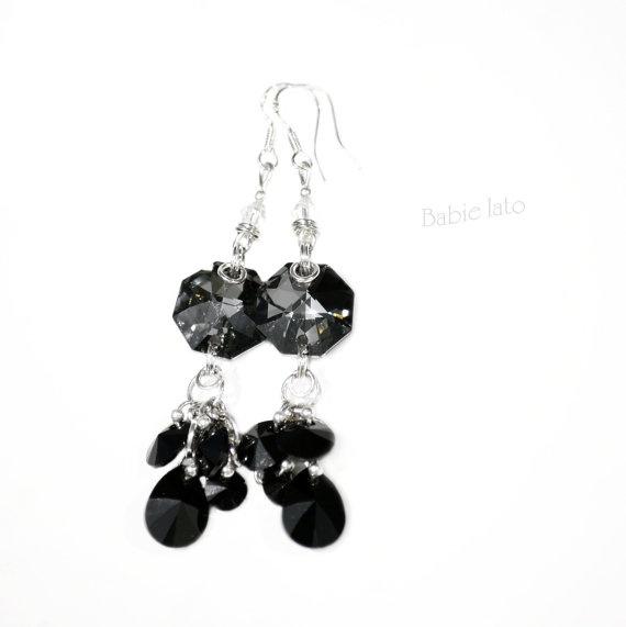 Night birds//  dark black swarovski crystals by ILoveIndianSummer, £28.00