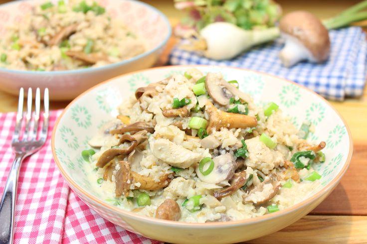Blumisotto mit Pilzen und Hähnchen, mein Low Carb Blumenkohl Risotto. Ein italienischer Moment im herbstlichen Gewand.