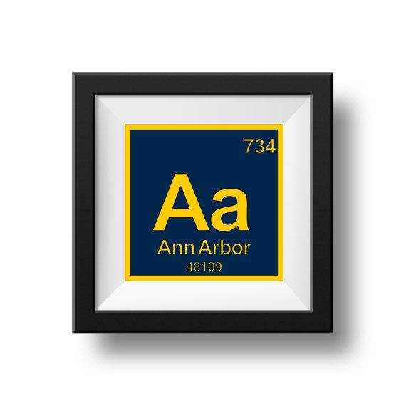"""8"""" x 8"""" UNIVERSITY OF MICHIGAN Instant Download Ann Arbor Periodic Table Art Print Sign Wall Decor Wolverines"""