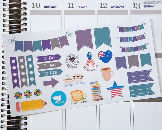 September Holiday Stickers 2015-16 Colors Labor by HipDigiChick