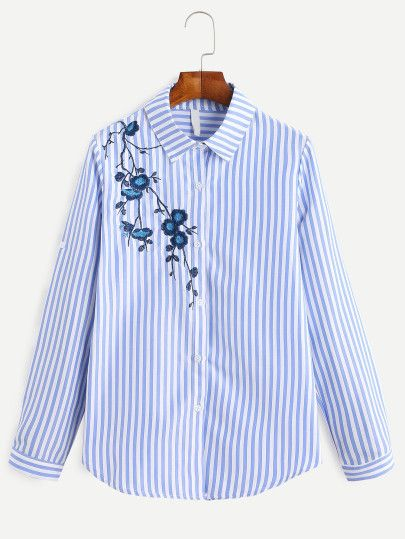 Camisa a rayas verticales con bordado - azul