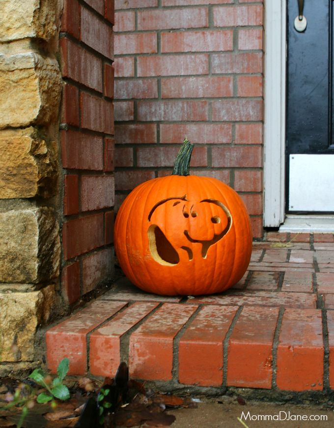 Free printable stencil to carve a Snoopy pumpkin. Are you celebrating the classic characters coming back to the big screen in theaters on November 6th?  #PeanutsMovie
