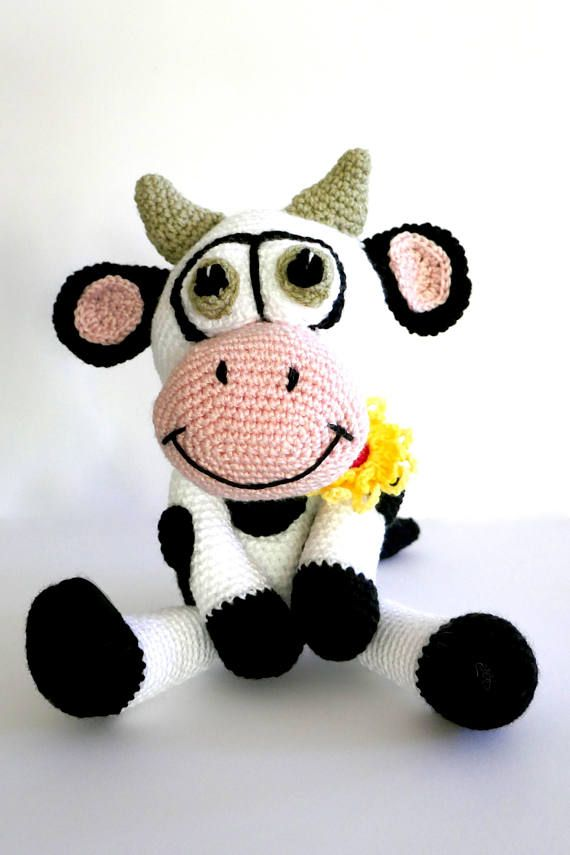 READY TO SHIP Dairy Cow crochet cow stuffed animal crochet