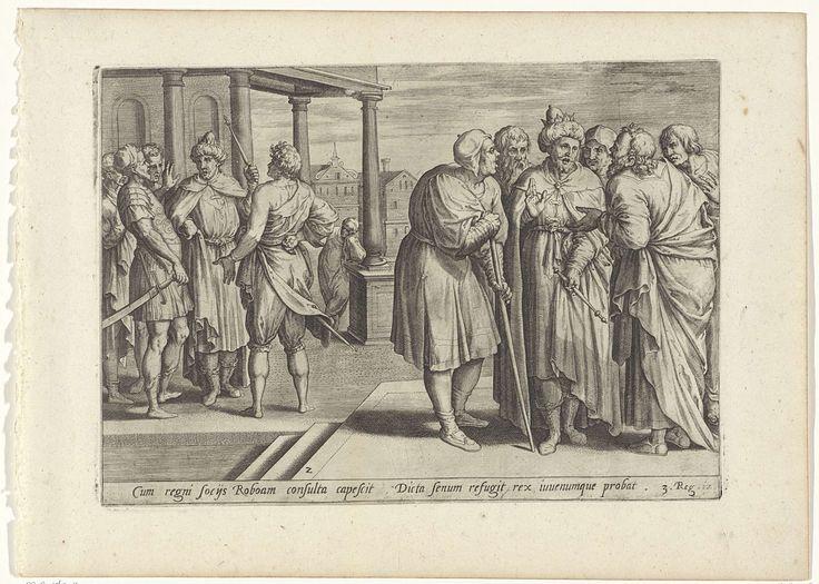 Ambrosius Francken (I) | Rechabeam raadpleegt de oudsten en de jongemannen, Ambrosius Francken (I), Gerard de Jode, 1579 | Koning Rechabeam raadpleegt de oudsten die zijn vader Salomo nog hadden bijgestaan, nadat de Israëlieten hem hebben gevraagd hun juk te verlichten. De oudsten raden hem aan om het volk welwillend te zijn, maar Rechabeam negeert hun advies. Links op de achtergrond raadpleegt hij vervolgens de jongemannen met wie hij is opgegroeid. Zij raden hem aan om het verzoek van het…