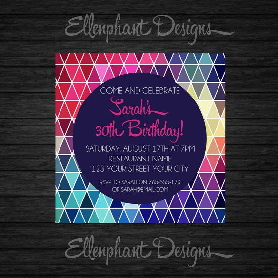 Geometric triangle Birthday Invitation, teen, 21st, 30th, 40th, 50th, adult invitation, colorful, custom invite, digital file, you print on Etsy, $16.43 AUD