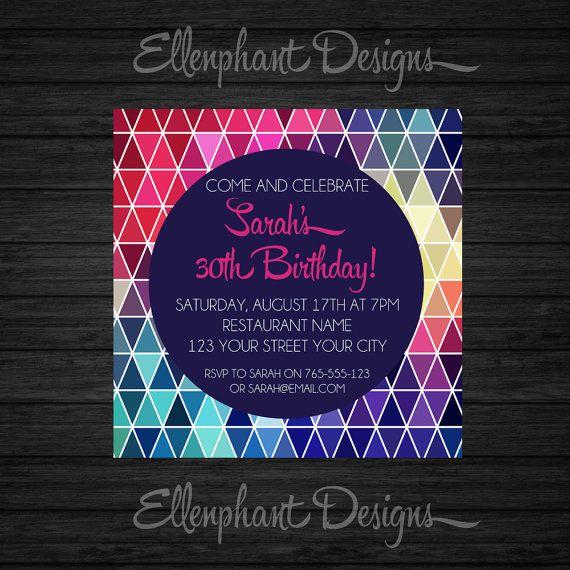 Геометрическая треугольник Приглашение на день рождения, подросток, 21-й, 30-й, 40-й, 50-й, взрослый приглашение, красочные, обычай приглашать, цифровой файл, вы печати