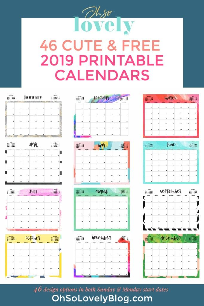 graphic about Www.printablecalendars.com � Www.freeprintable.net referred to as Absolutely free 2019 printable calendars - 46 ideas in the direction of decide against