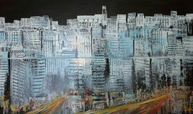 Metropoli mixed on mdf 120x80 Luigi Torre