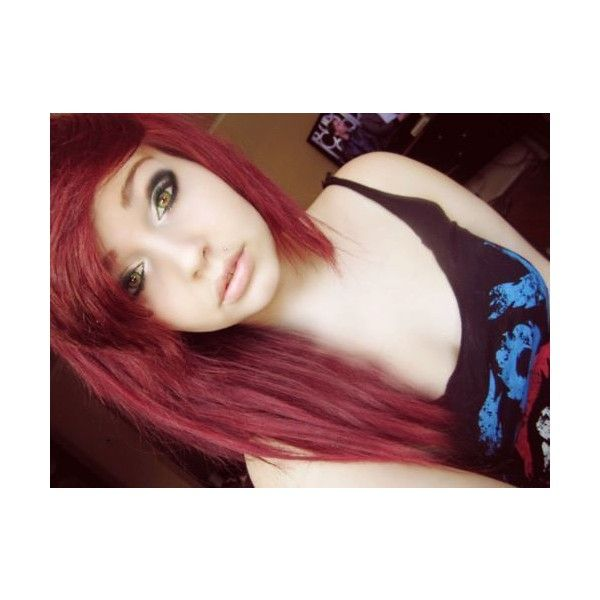 red scene hair | Tumblr found on Polyvore