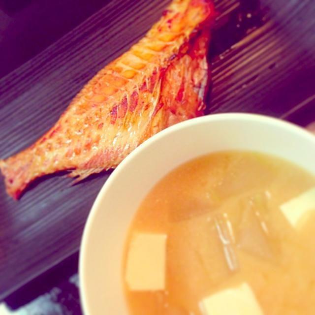 今日は時間がなくて…  しっそだぜ… - 40件のもぐもぐ - 冬瓜と豆腐の味噌汁と焼き魚 by linalina0618