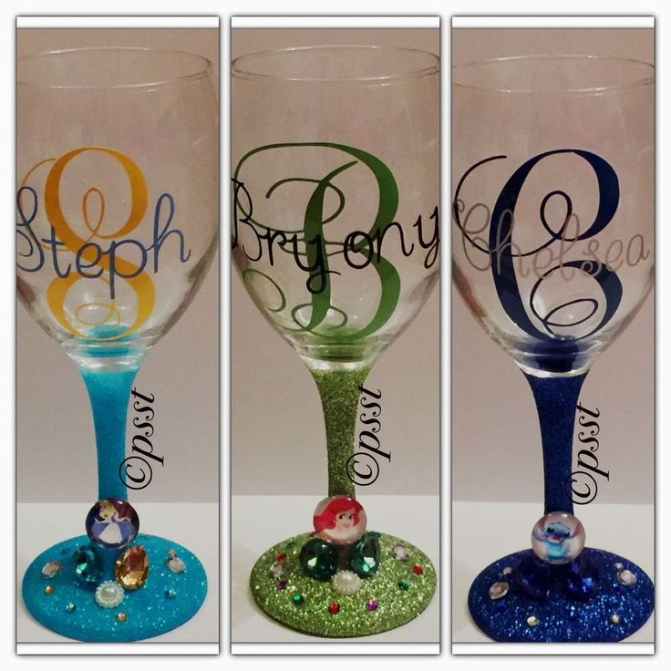 Disney & Other Character/Themed Glitter Wine Glass Personalised With Name in Home, Furniture & DIY, Celebrations & Occasions, Other Celebrations & Occasions | eBay