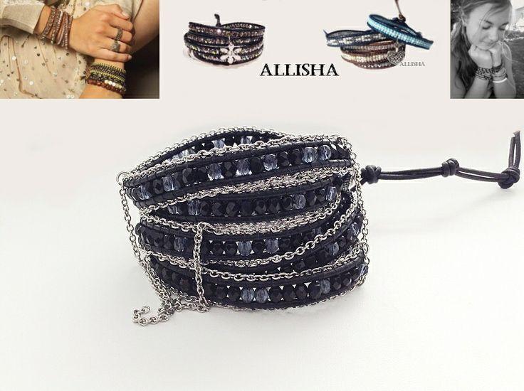 Kožený náramek s broušenými korálkami a z obou stran lemovaný ocelovým řetízkem, náramek nosí Jennifer Lopes a nebo Dara Rolins :-) 5x wrap
