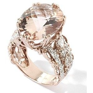 14K Rose Gold Peach Morganite & Diamond Ring - too big for me personally, but i love the rose gold