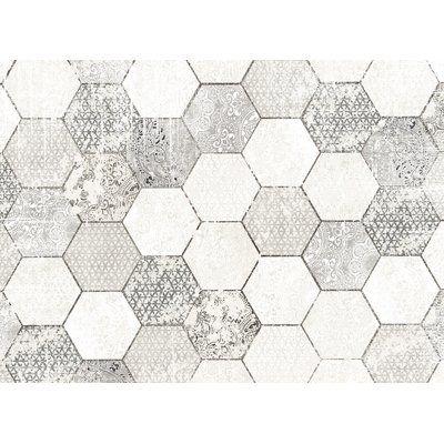 Kavka Hexa Gray/White Area Rug Rug Size: 8' x 10'