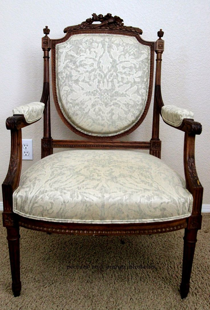 Orange damask chair - Antique French Chair