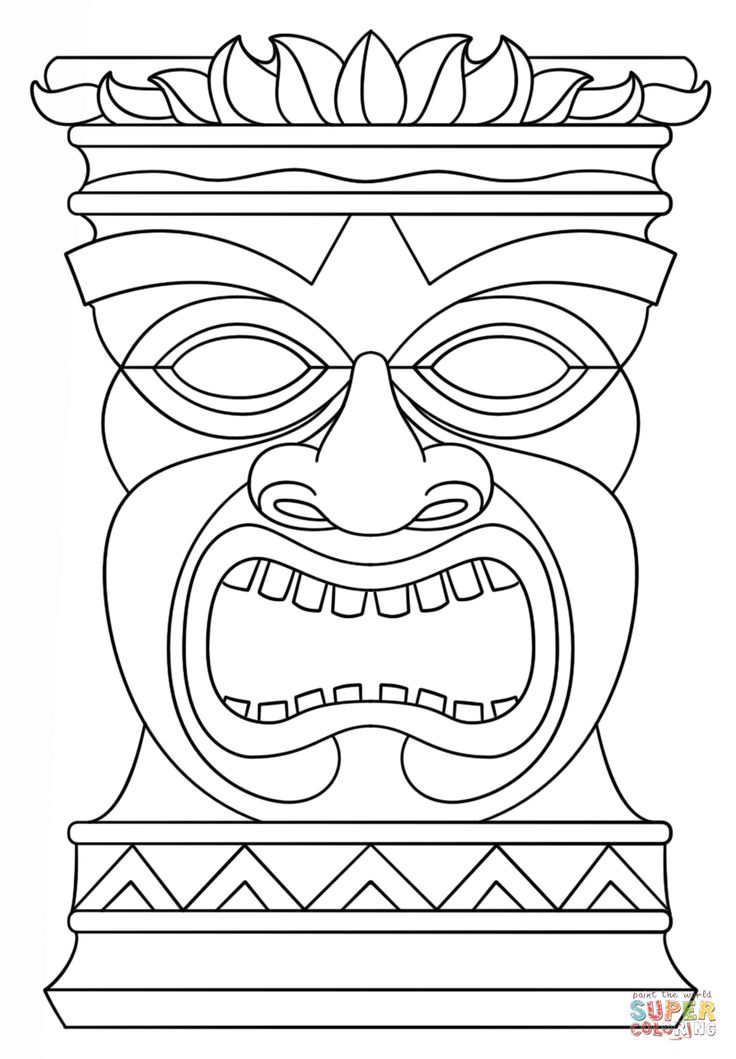 Hawaiian Tiki Masks Coloring Pages | tiki masks | Luau ...
