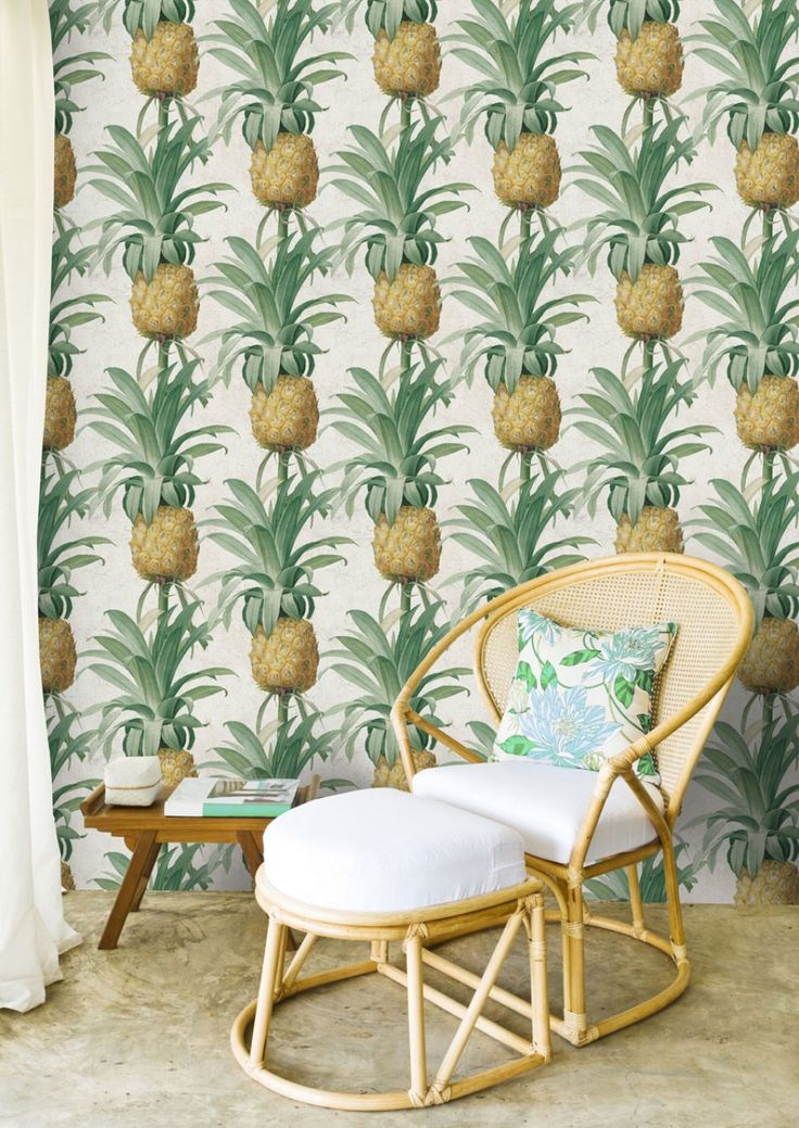Dare to be different with this stunning Pineapple Wallpaper by designer MINDTHEGAP.  A tropical pattern that will turn any room into an exotic island.