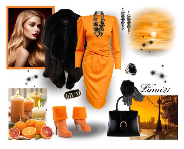 orange by lumi-21 on Polyvore featuring Lanvin, Oasis, Ballin, Delvaux, Rosantica, Alexis Bittar, First People First and Imoni