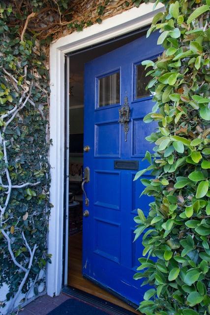 blue: Cottages Houses, Front Doors Colors, Blue Doors, Vines, Apartment Therapy, Cobalt Blue, Blue Front Doors, Frontdoor, Houses Tours