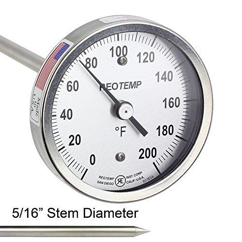 "REOTEMP FG20P Backyard Compost Thermometer - 20"" Stem, Fahrenheit with Basic Composting Instructions"