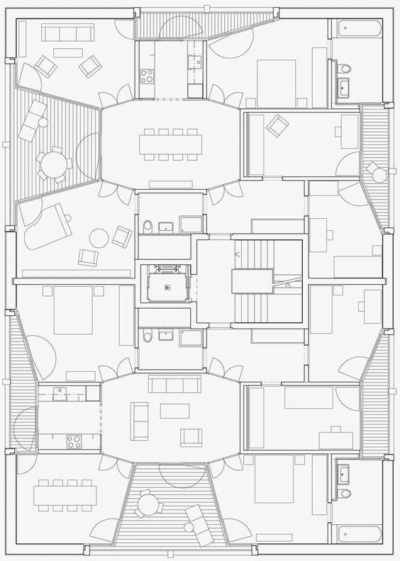 Wohnhäuser Schönberg-Ost, Bern | Esch Sintzel Architekten plan vorm ruimteschakeling terras inpandig: